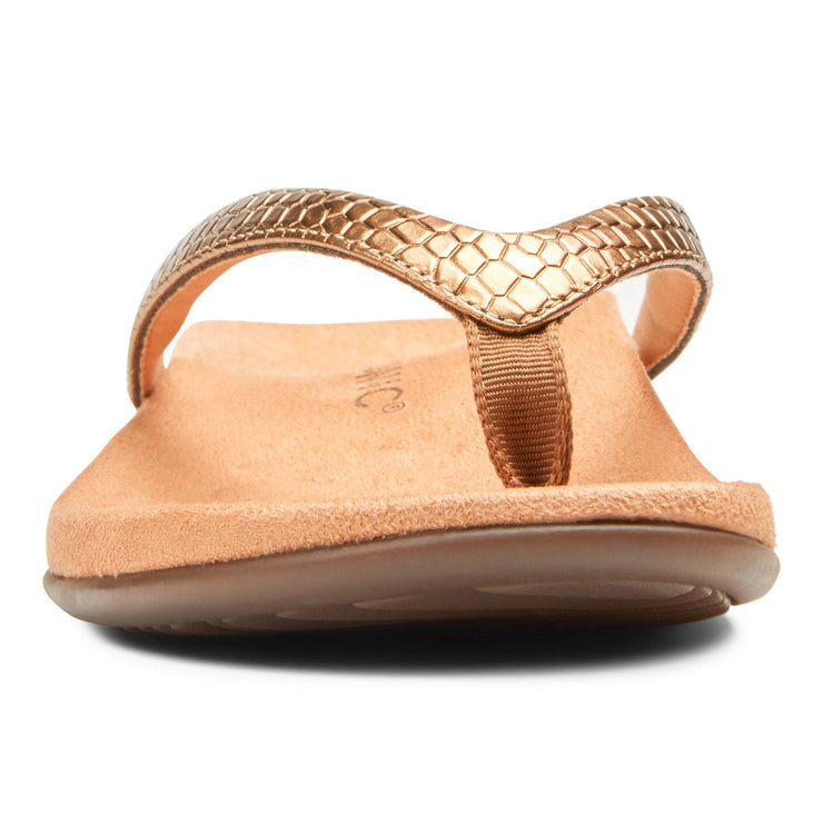 Vionic Womens Dillon Toe Post Sandal Copper Snake