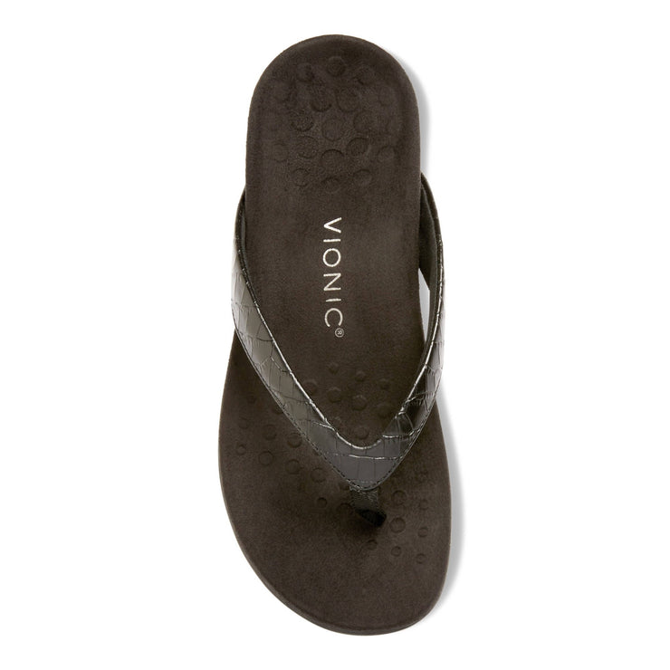 Vionic Womens Dillon Toe Post Sandal Croc Black