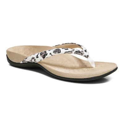 Vionic Womens Dillon Toe Post Sandal White Leopard Snake