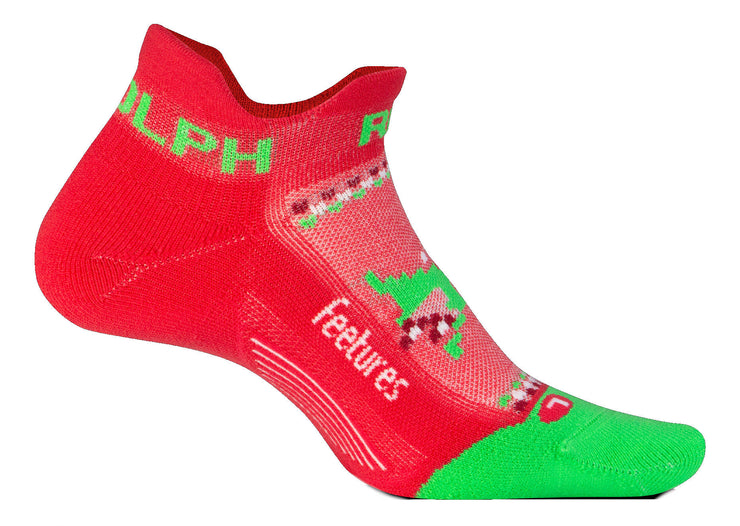 Feetures Elite Light Cushion No Show Tab Run Rudolph Red
