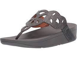 FitFlop Womens Elora Crystal Toe Thongs Pewter