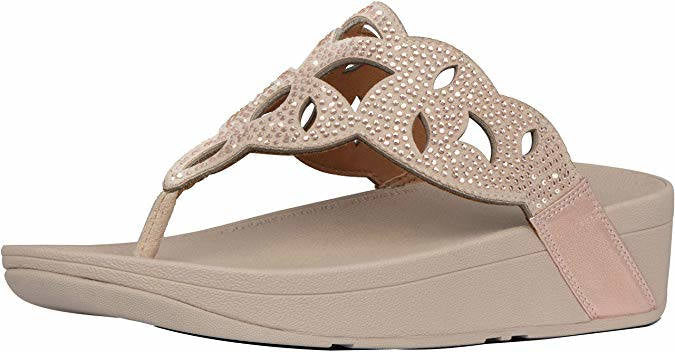 FitFlop Womens Elora Crystal Toe Thongs Rose Gold