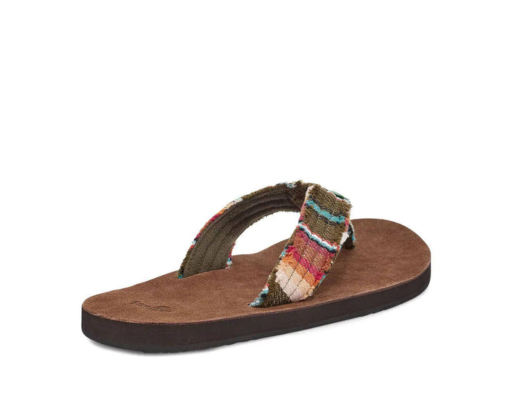 Sanuk Mens Fraid Not Brown Olive Multi