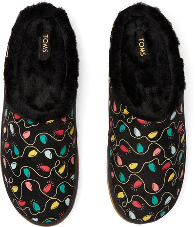 Toms Womens Ivy Black Holiday Lights Print Glow In The Dark