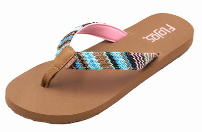 Flojos Womens Juno Weave Pink Tan Multi