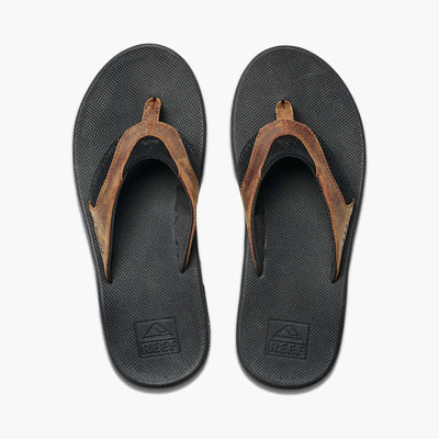 Reef Mens Leather Fanning Black Bronze
