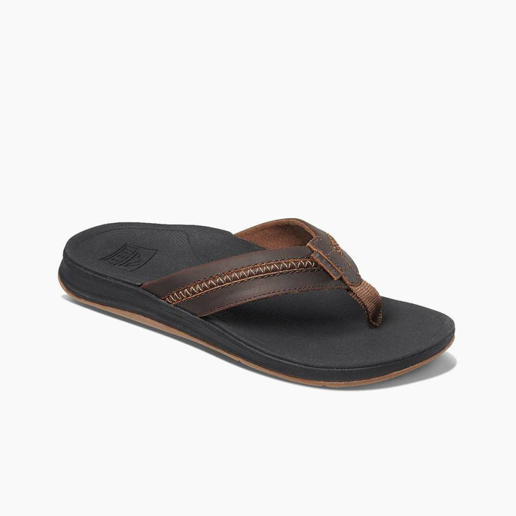 Reef Mens Leather Ortho-Bounce Coast Black Brown