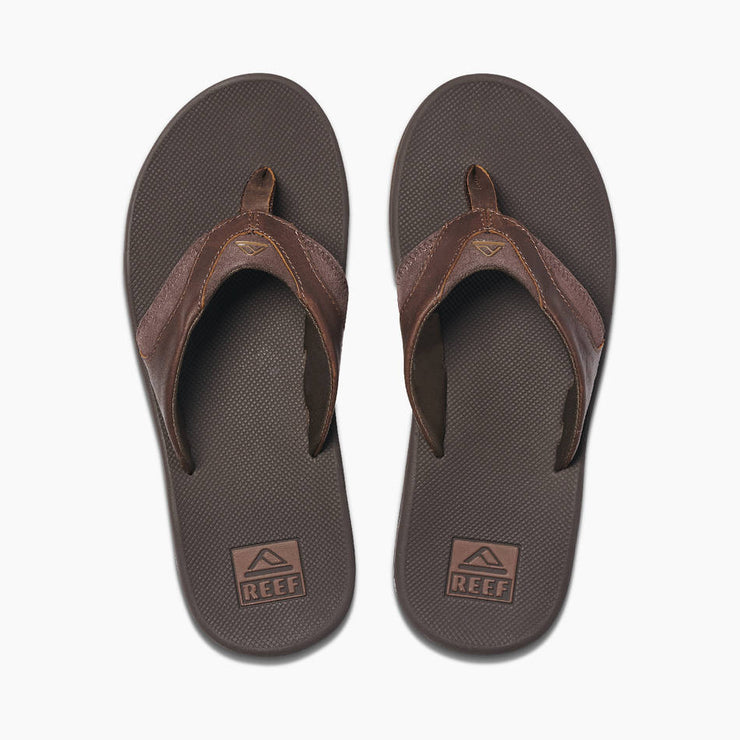 Reef Mens Leather Fanning Dark Brown