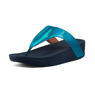 FitFlop Womens Lottie Iridescent Scale Toe Post Sandals Sea Blue