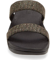 FitFlop Womens Lottie Glitter Stripe Slides All Black