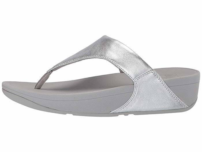 FitFlop Womens LuLu Leather Toepost Silver