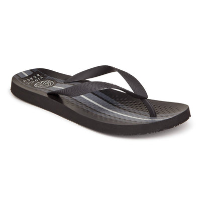 Vionic Mens Beach Manly Stripe Toe Post Sandal Black