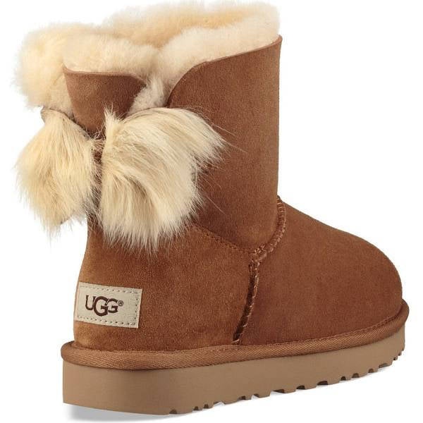 UGG Womens Mini Fluff Bow Chestnut