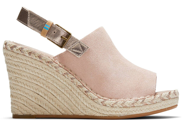 Toms Womens Monica Wedges Spanish Villa Rose Gold Metallic Leather