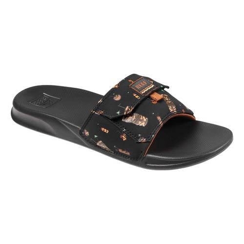 Reef Mens Stash Slide Black Tiki