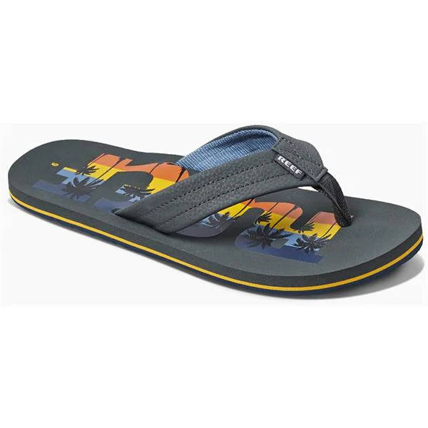 Reef Mens Waters Grey Palm Word