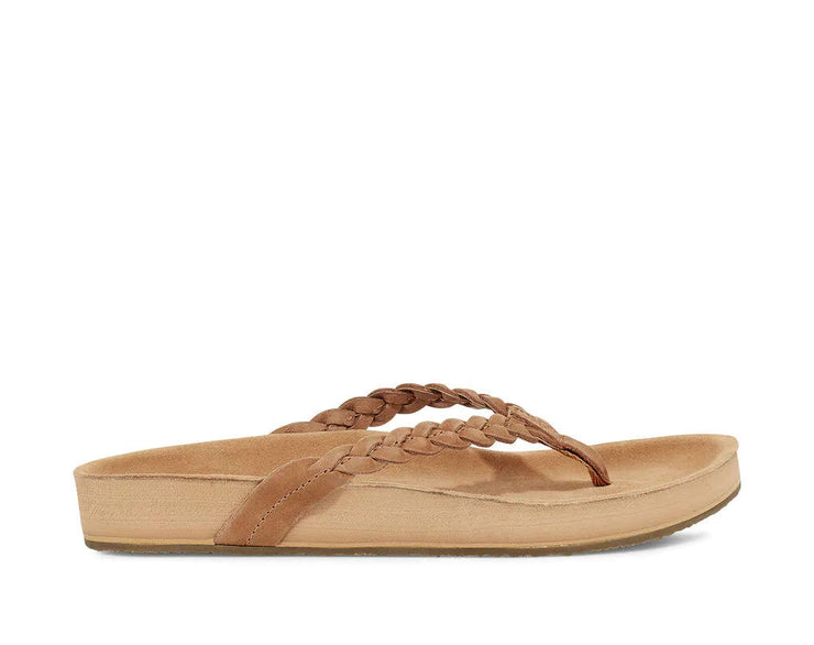 Sanuk Womens She Loungy Braid Leather Tan
