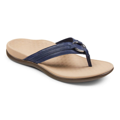 Vionic Womens Tide Aloe Leather Toe Post Sandal Navy