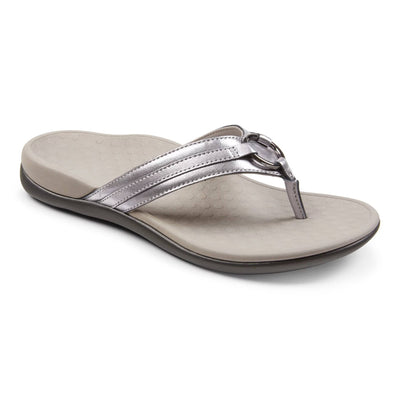 Vionic Womens Tide Aloe Leather Toe Post Sandal Pewter