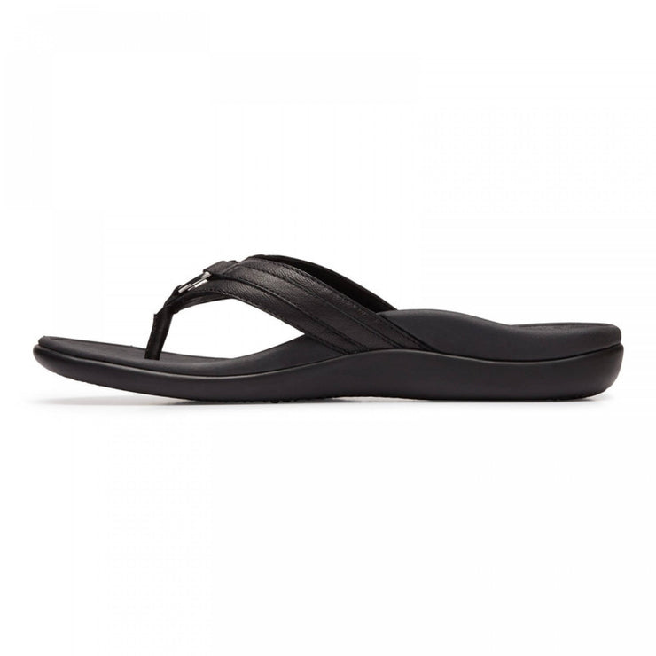 Vionic Womens Tide Aloe Leather Toe Post Sandal Black