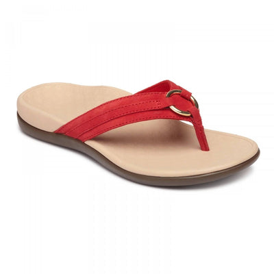 Vionic Womens Tide Aloe Toe Post Sandal Cherry