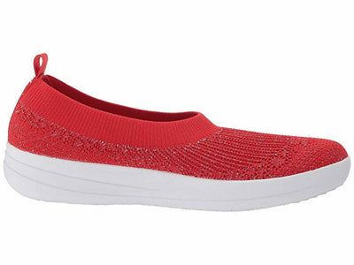 FitFlop Womens Uberknit Slip On Ballerina Red