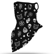 Unisex Face Scarf Bandana with Ear Loops Black Mystic