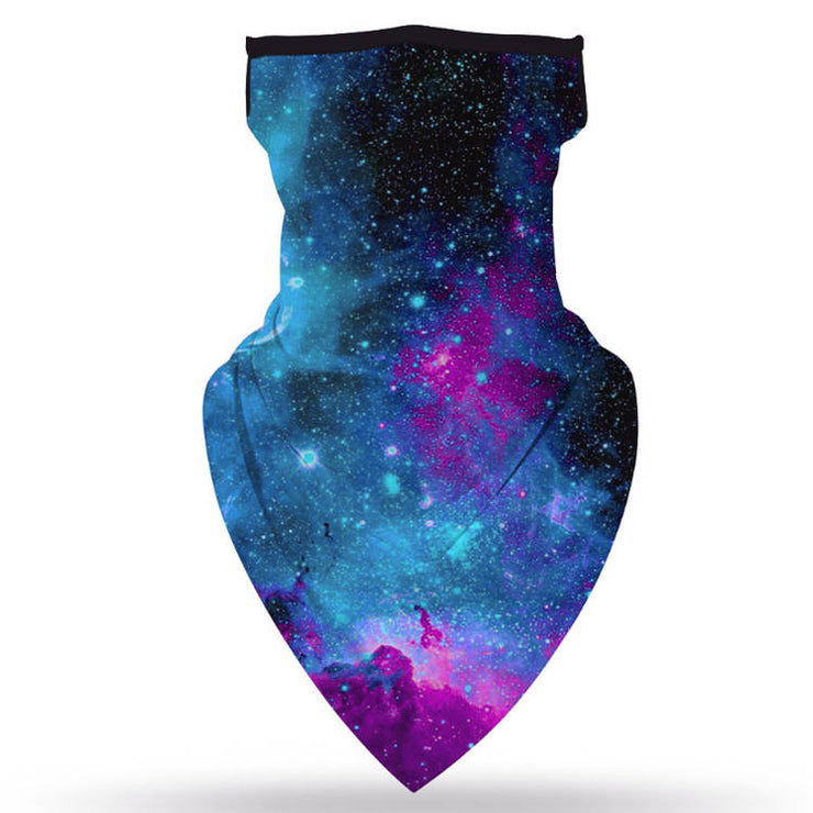 Unisex Face Scarf Bandana with Ear Loops Galaxy
