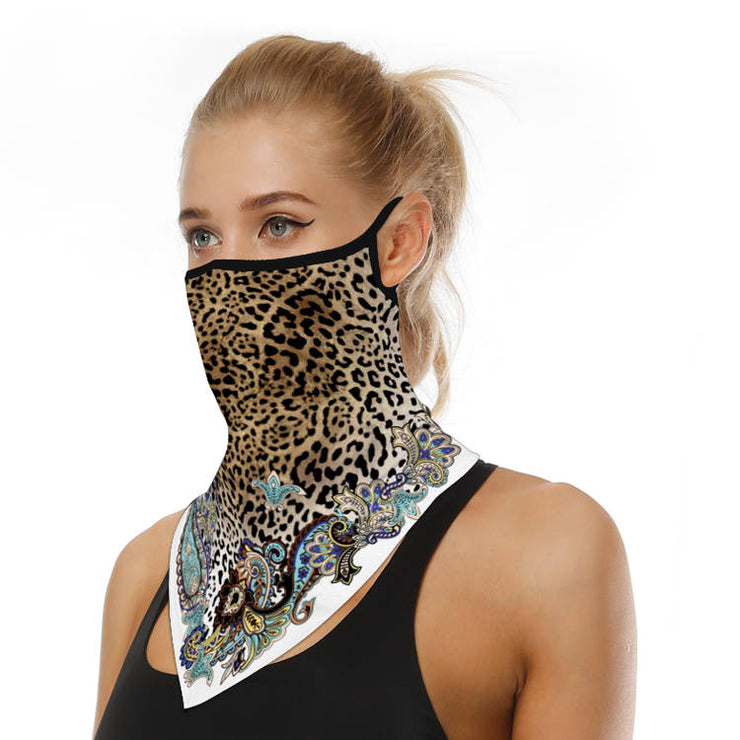 Unisex Face Scarf Bandana with Ear Loops Leopard Paisley