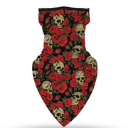 Unisex Face Scarf Bandana with Ear Loops Skulls and Roses