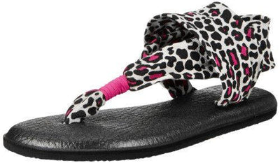 Sanuk Girls Yoga Sling Black Fuchsia Cheetah