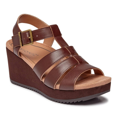 Vionic Womens Tawny Platform Wedge Mocha Leather