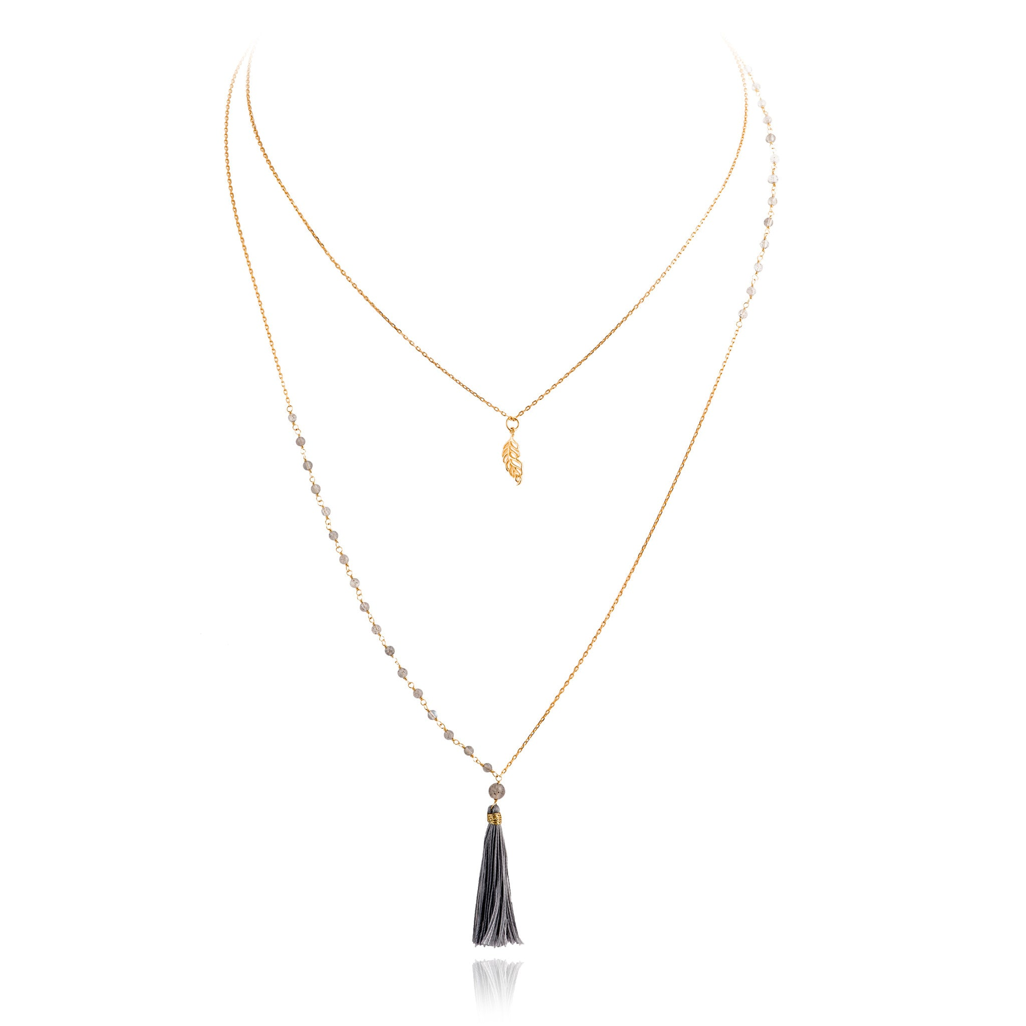 NME-12/G/LAB -  Labradorite and Chain Necklace with Tassel