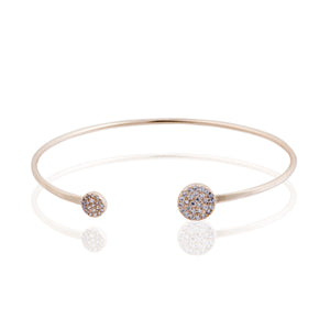 BK-300/G - Bangle Bracelet with pave discs