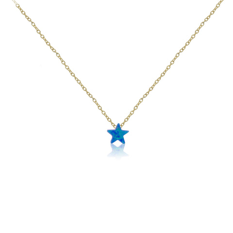 NK-57/G - Chain necklace with blue opal star. (NEW)