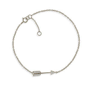BK-51/S - Chain and Arrow Bracelet with CZ Decoration