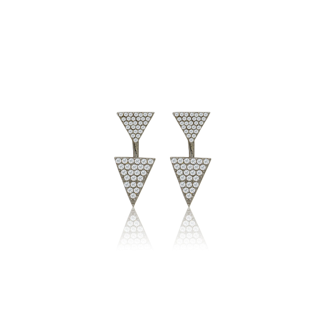EK-22/S - Pave stacked triangle earrings (NEW)