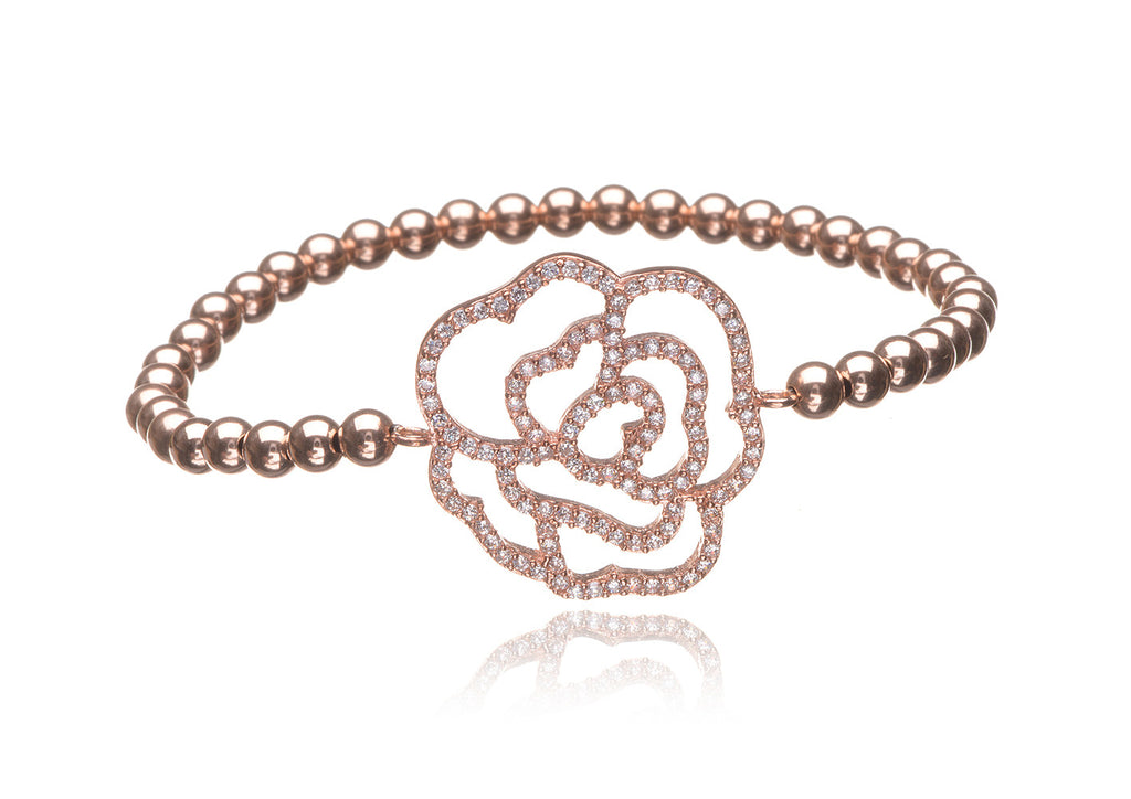 BS-420/EB/RF - Rose filled elastic bobble bead bracelet with pave flower.