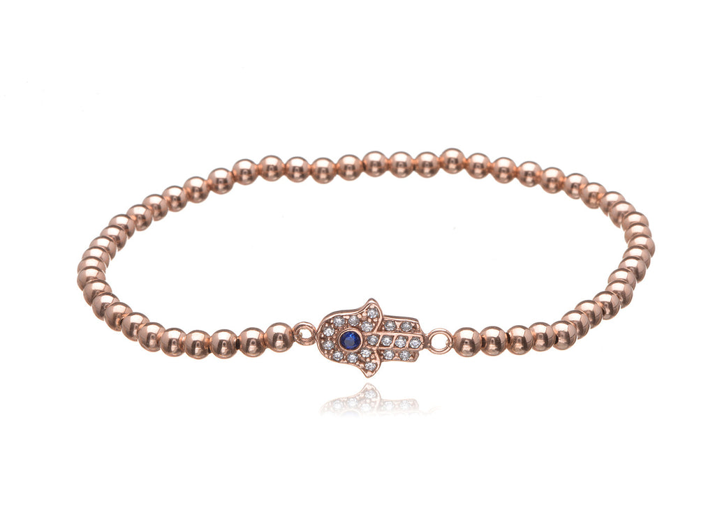 BS-201/EB/RF - Rose gold elastic bobble bead and horizontal pave hand bracelet.