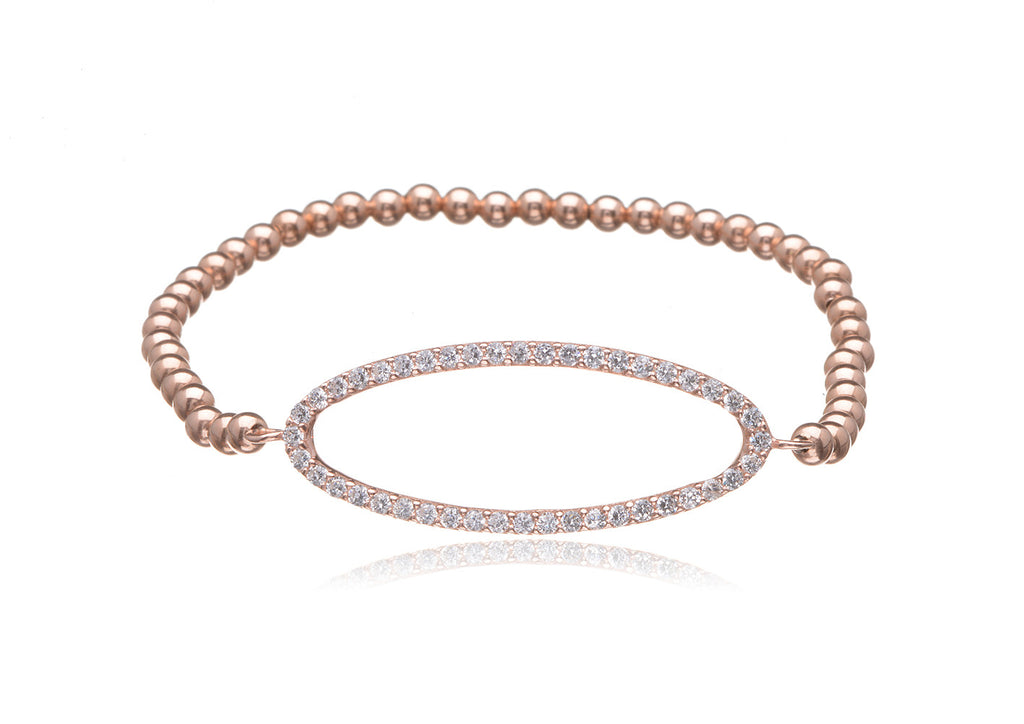 BS-700/EB/RF - Rose gold filled elastic bobble bead and pave oval bracelet.