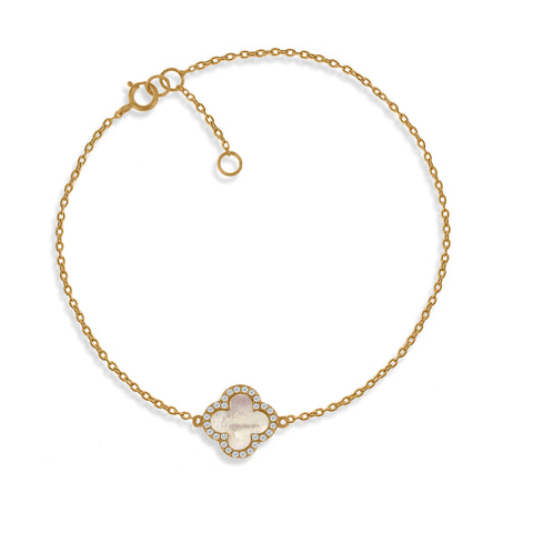 BK-64/G - Chain bracelet with Mother of Pearl clover charm (NEW)