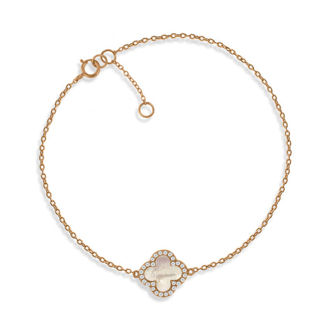 BK-64/R - Rose Gold on Silver Chain bracelet with Mother of Pearl clover charm (NEW)