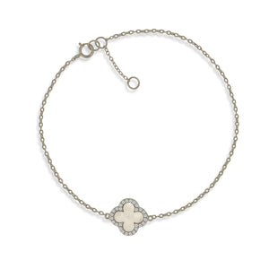BK-64/S - Sterling Silver chain bracelet with Mother of Pearl Clover charm