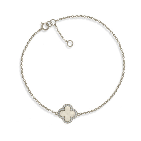 BK-64/S - Sterling Silver chain bracelet with Mother of Pearl Clover charm (NEW)