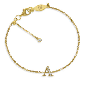 "BT-26/G/A  - Initial ""A"" Bracelet Adjustable Size"