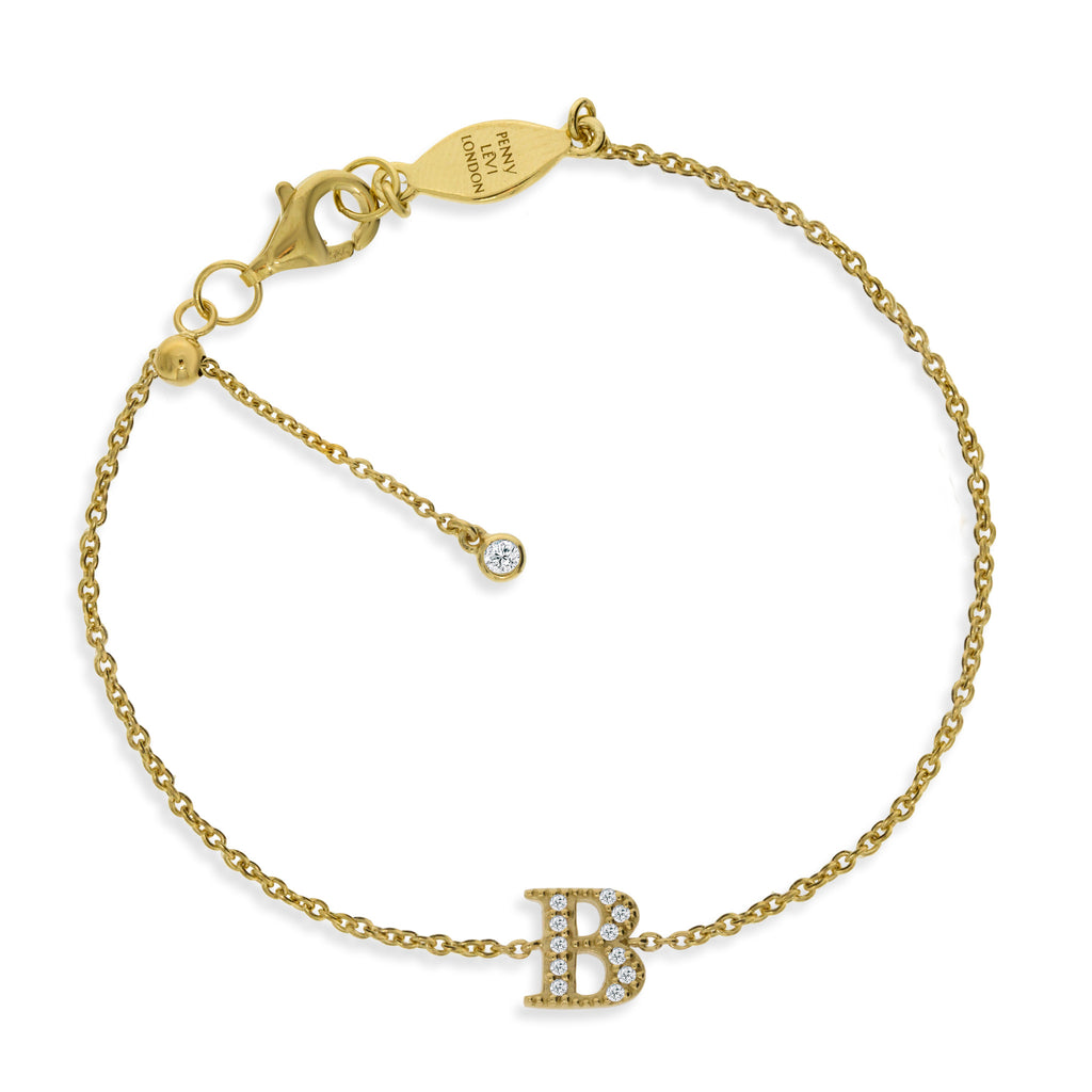 "BT-26/G/B - Initial ""B"" Bracelet adjustable length.(NEW)"