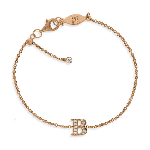 "BT-26/R/B - Initial ""B"" Bracelet adjustable length.(NEW)"