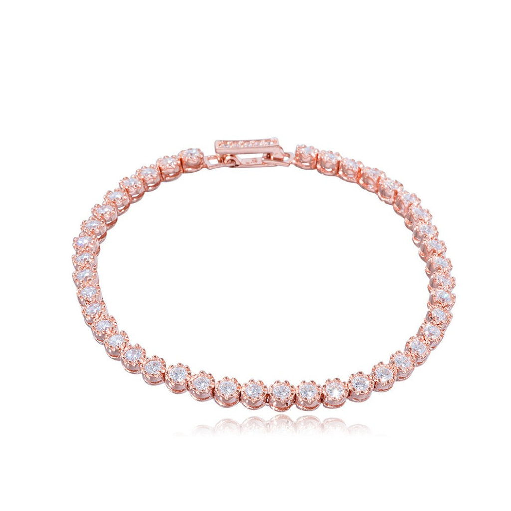 BD-605/R - Rose gold plated silver tennis bracelet.