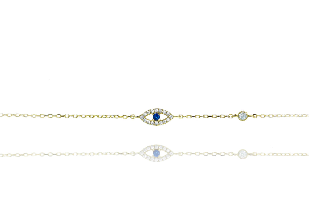 BF-10/GB - Evil Eye Chain Bracelet with a Blue Centre Stone