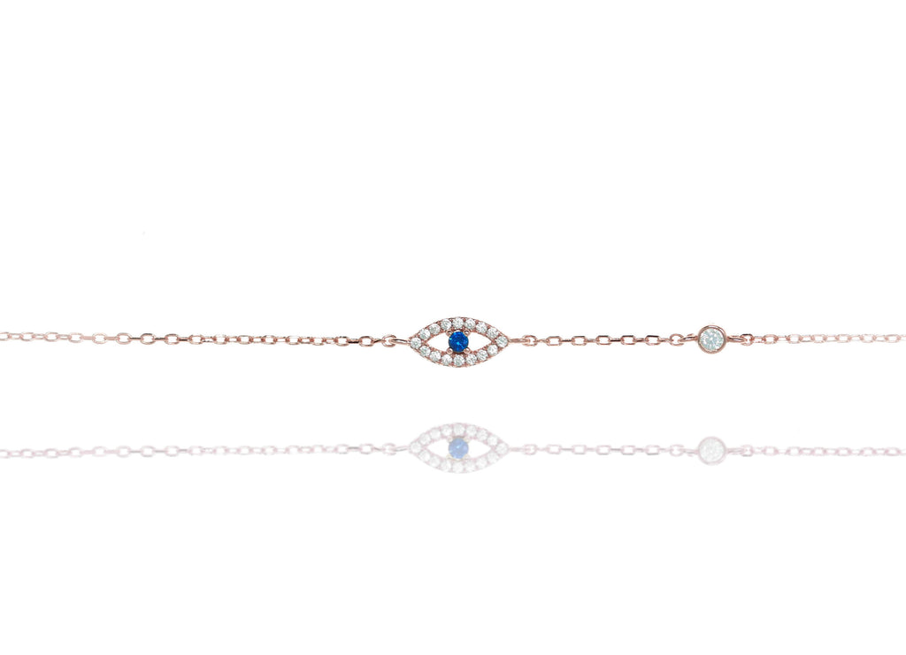 BF-10/RB - Evil Eye Chain Bracelet with a Blue Centre Stone